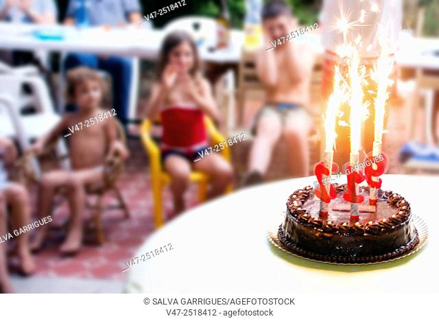 Excited children birthday party