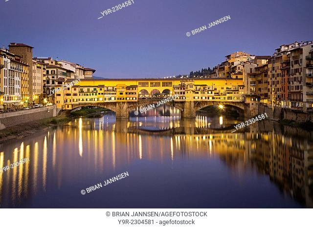 Twilight over historic Ponte Vecchio and River Arno, Florence, Tuscany, Italy