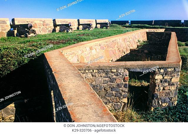 Cannons and stone wall at Prince of Wales Fort. Hudson Bay Scenic. Manitoba. Canada