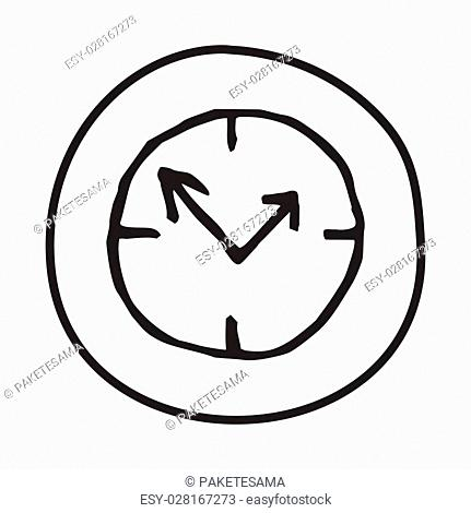 Doodle Clock icon. Infographic symbol in a circle. Line art style graphic design element. Web button. Being on time, good timing, countdown, deadline concept