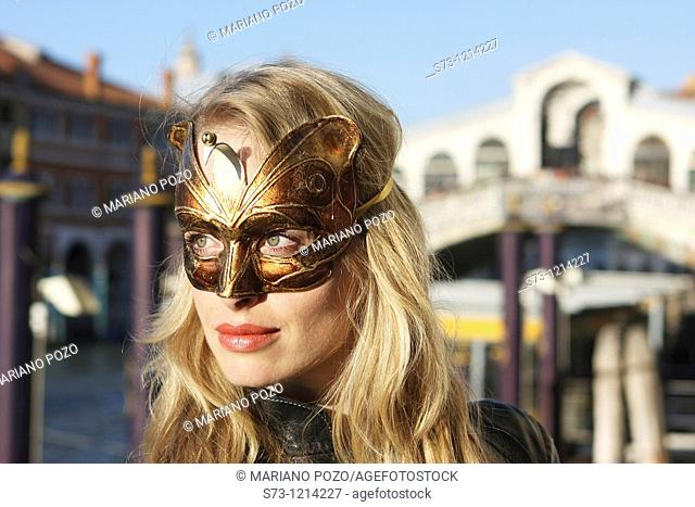 Woman with mask in Venice, Italy, Venice