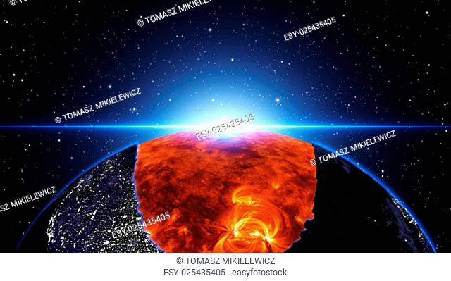 Earth burning or exploding after a global disaster, Apocalypse asteroid impact globe. (Elements of this 3d rendered image furnished by NASA)