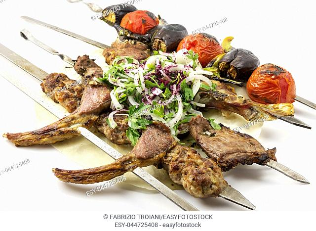 Shish kebab on a white background