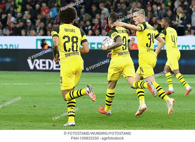 Leverkusen, Germany 29th September 2018: 1.BL - 18/19 - Bayer Leverkusen vs. Germany. Bor. Dortmund Jacob Bruun Larsen (Dortmund) celebrates after his goal to...