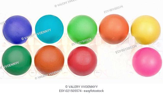 multicolored hen's eggs