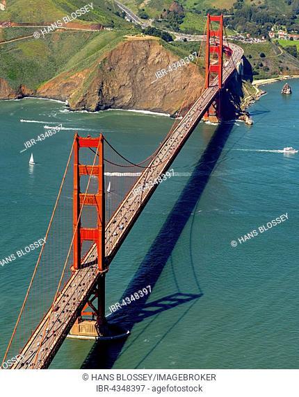 Aerial view, Golden Gate Bridge, San Francisco, San Francisco Bay Area, California, USA