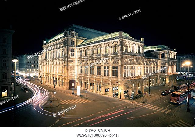 Austria, Vienna lighted state opera by night