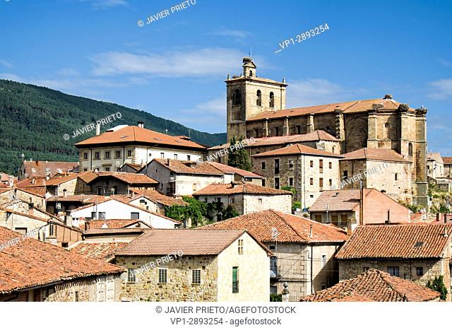 Locality of Vinuesa. Church of Our Lady of the Pine. Traditional architecture. Sierra de Urbión. Province of Soria. Castilla y León. Spain