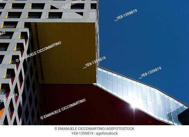Moma Linked Hybrid complex by architect Steven Holl, 2009, Dongzhimen District, Beijing, China, Asia