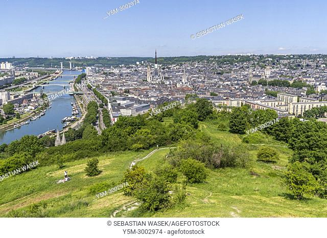 Rouen seen from Hill St. Catherine - Panorama De Rouen, Seine-Maritime, Normandie, France, Europe