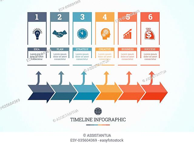 Conceptual Business Timeline Infographic, Vector design template for six position can be used for workflow, banner, diagram, web design, area chart