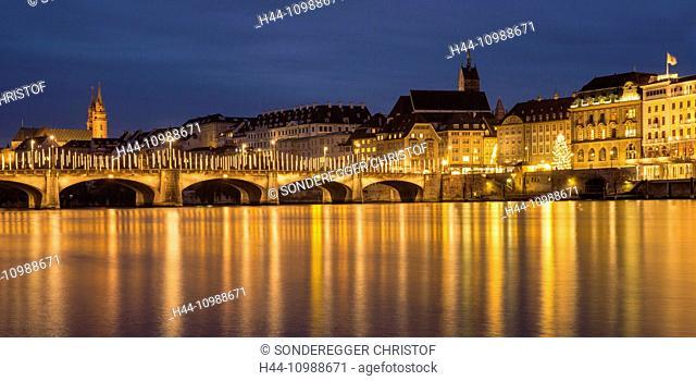 Rhine bridge with Christmas lighting in Basle