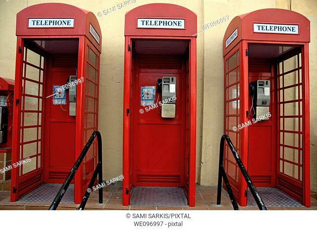Three old-fashioned public telephone boxes in Gibraltar, British Overseas Territory, England
