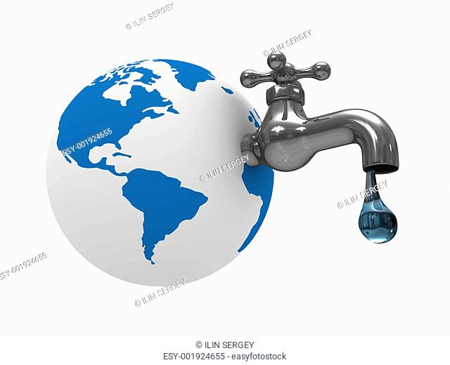 Water stocks on earth. Isolated 3D image