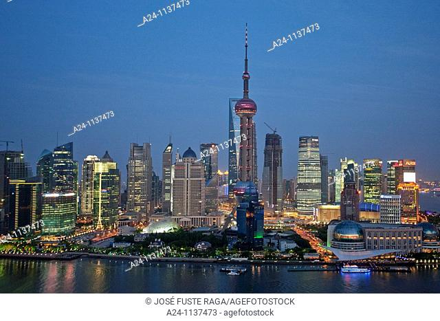 China-May 2010 Shanghai City Pudong District Skyline Huangpu River