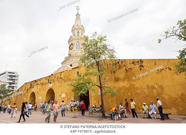 Plaza de los Coches, Torre del Reloj, Clock Tower, Cartagena, Colombia
