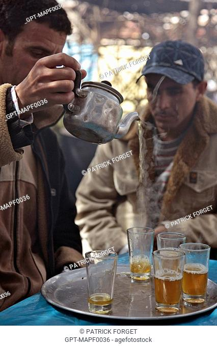 MINT TEA SELLER IN THE BERBER MARKET OF TAHANAOUTE, AL HAOUZ, MOROCCO