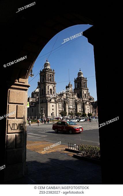 Metropolitan Cathedral on La Plaza de la Constitucion Square at the the city center, El Zocalo, Mexico City, Mexico, Central America