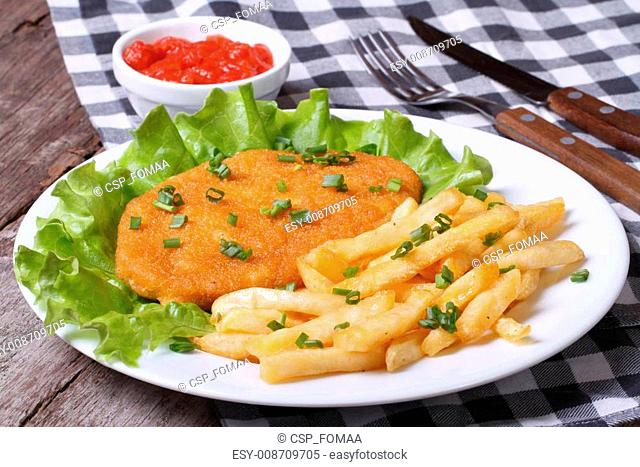 Schnitzel with french fries and sauce on a white plate