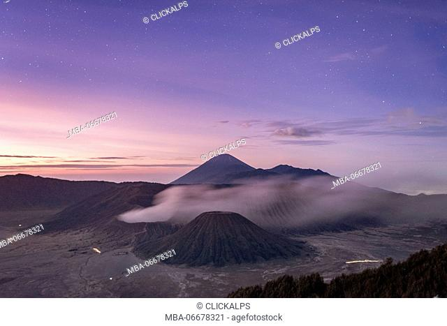 Java, Indonesia, South East Asia. High angle view of Mount Bromo at sunrise