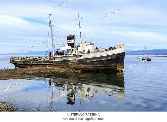 Shipwreck Saint Christopher in the port of Ushuaia, Argentina