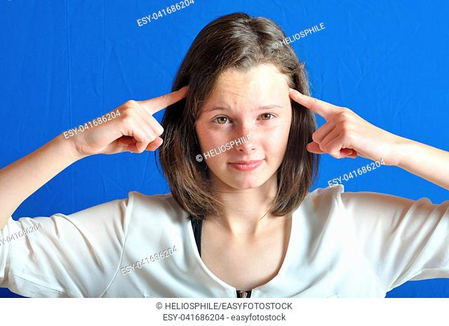 Portrait of teenage girl thinking