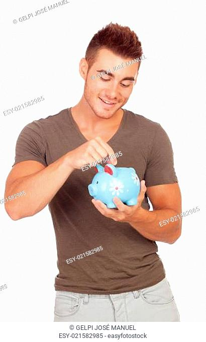 Young man with a money box