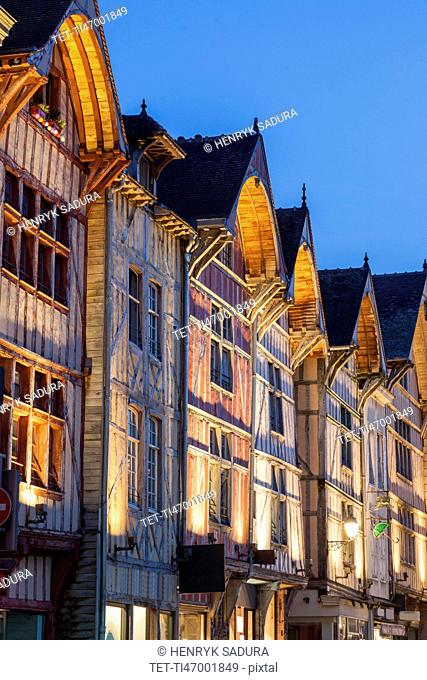 France, Grand Est, Troyes, Illuminated buildings