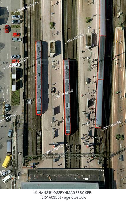 Aerial view, tram station, central station, Koenigswall, Dortmund, Ruhrgebiet region, North Rhine-Westphalia, Germany, Europe