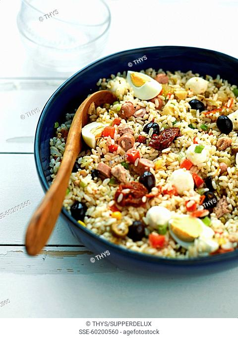 Rice salad with sausages