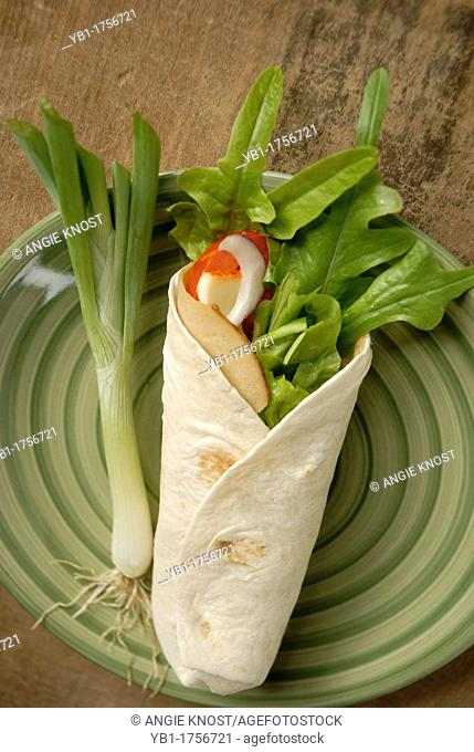 A sandwich wrap made of lettuce, muenster cheese, tomato, red onion, green onion and vegetarian soy turkey deli slicebut could represent real turkey lunchmeat