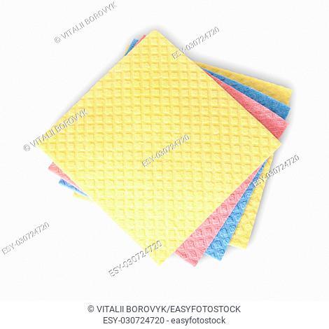 Multicolored sponges for dishwashing isolated on white background