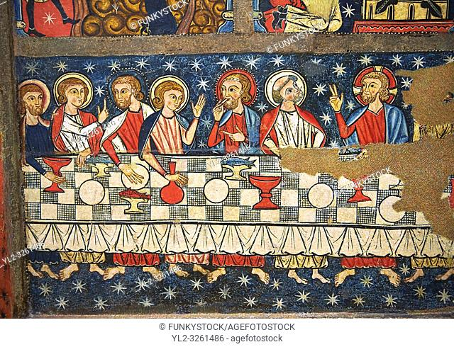 Gothic altar panel depicting the Last Supper. End of the 13th century, tempera on a spruce wooden panel from The Church of Sant Miguel de Soriguerola, Cerdanya