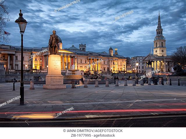 The National Gallery and Saint Martins in The Fields at night, Trafalgar Square, London, England