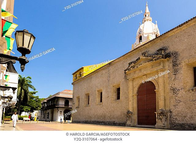 Cathedral Basilica of St. Catherine of Alexandria in the ancient walled city of Cartagena de Indias. UNESCO's historical heritage of humanity