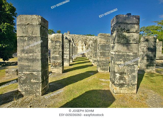 Court of the Thousand Columns at Chichen Itza, Mayan Ruins in the Yucatan Peninsula, Mexico