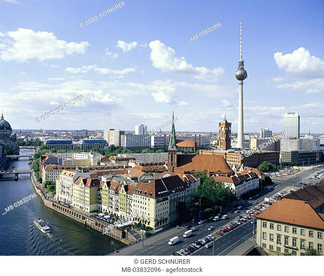 Germany, Berlin, view over the city,  Spree, television tower, red town hall,   City, capital, Berlin middle, panorama, river, street, bridge, houses, buildings
