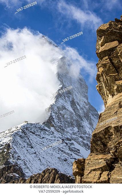 View of Matterhorn from Hörnlihütte path Zermatt Pennine Alps Canton of Valais Switzerland Europe