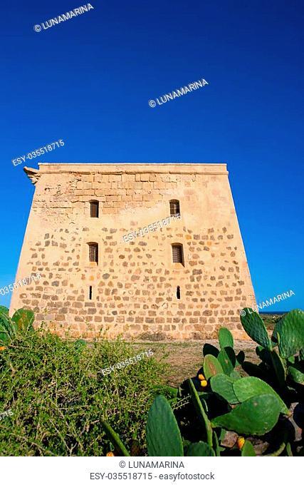 Tabarca island tower Torre de San Jose was a prision and castle in Alicante Spain