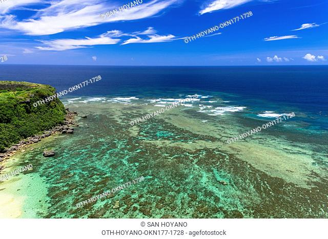 Kahubanta (Cape of happiness) cliff top and magnificant view of coral reefs in Miyagi Island, Okinawa, Japan