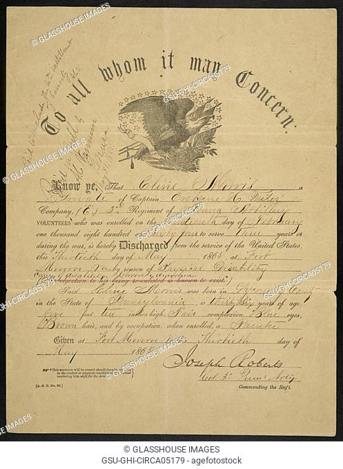 U.S. Government Certificate to Discharge Private Cline Morris from Co. E, 3rd Pennsylvania Heavy Artillery Regiment, American Civil War, USA, 1865
