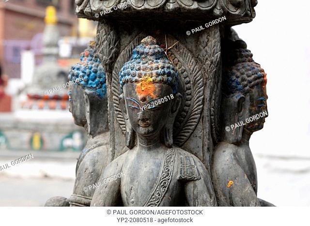 Budda shrine at Kathesimbhu Stupa - Thamel, Kathmandu, Bagmati Zone, Kathmandu Valley, Nepal
