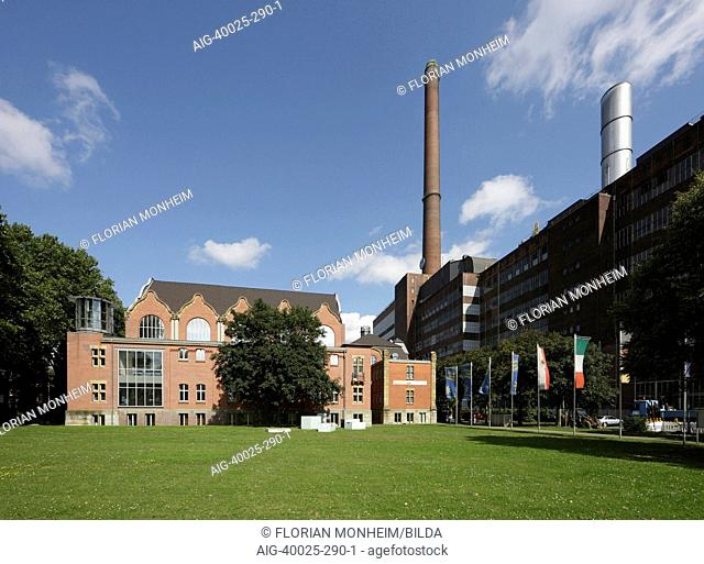 Exterior of former swimming pool of Huttenwerks steel factory built in 1908-1912, now the home of the German Inland Waterways Museum in Ruhrort, Duisburg