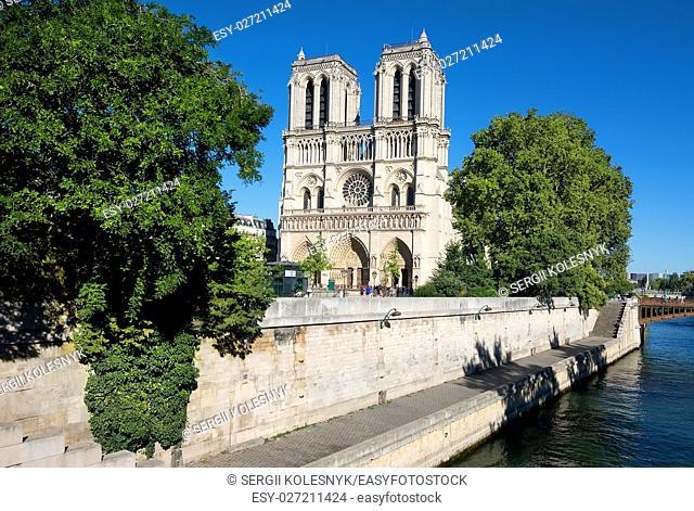 Cathedral Notre Dame de Paris and river Seine, France