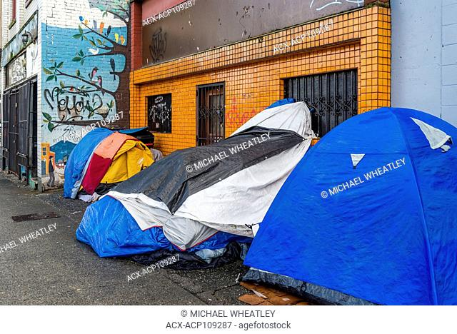 Homeless persons tents on sidewalk, Downtown Eastside, Vancouver, British Columbia, Canada