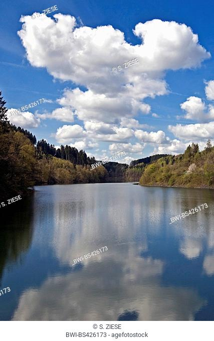 Agger Dam, mirror image, Germany, North Rhine-Westphalia, Bergisches Land, Gummersbach