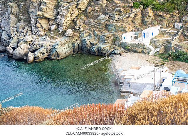 Kamares of Coast, Sifnos, Kastro, Islands of Ciclades, Greece, Western Europe