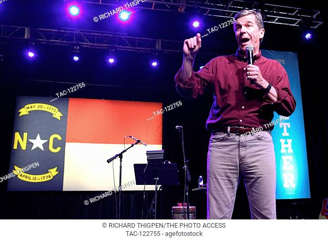 Gubernatorial candidate Roy Cooper speaks at the Fillmore Charlotte to remind voters to get out and vote on Tuesday, November 8th