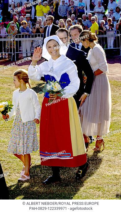 Crown Princess Victoria and Prince Daniel, Princess Estelle,.Princess Madeleine and Christopher O'Neill of Sweden at the Borgholm Sports Arena in Borgholm