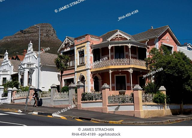 Traditional Cape houses on Kloof Road, Cape Town, South Africa, Africa